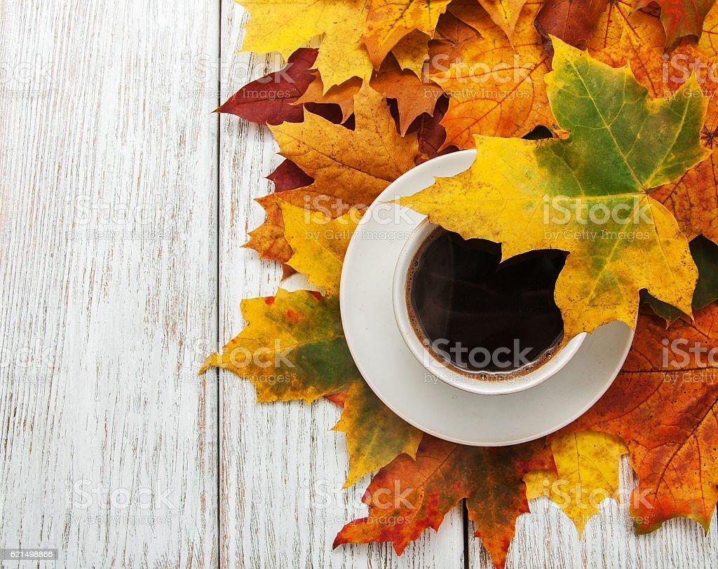 Tasse Kaffee und Herbstlaub Lizenzfreies stock-foto