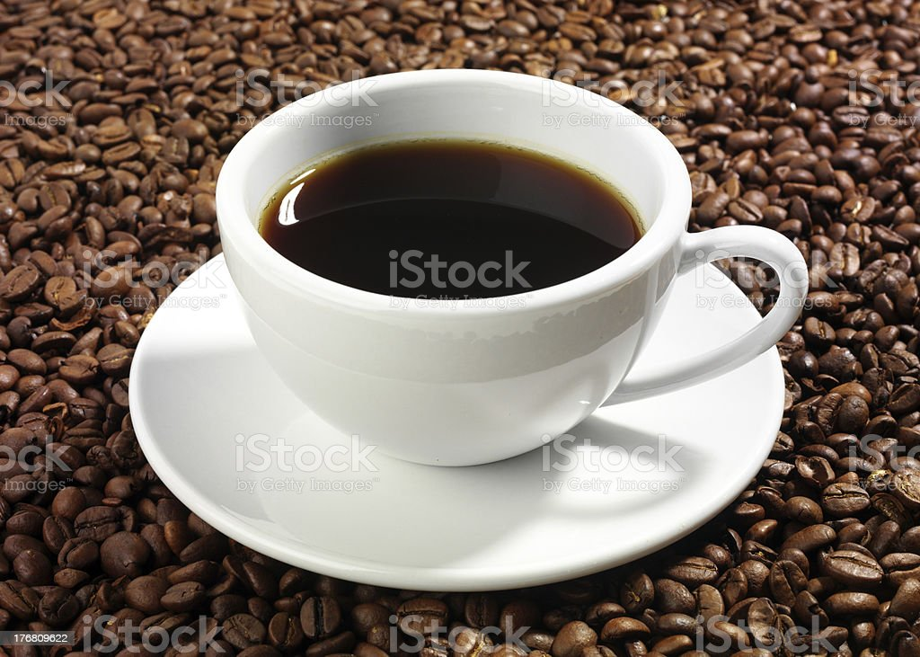 cup of coffee and beans stock photo