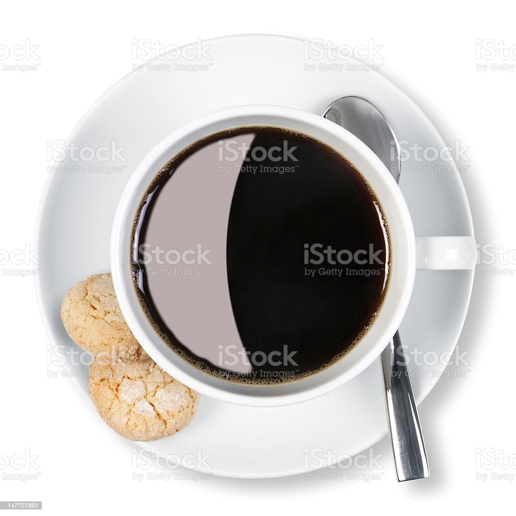 Cup of coffee and biscuits isolated clipping path. royalty-free stock photo