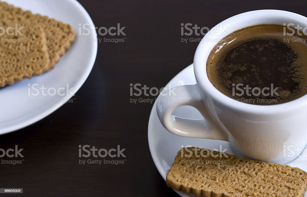 Cup of Coffee and biscuits royalty-free stock photo