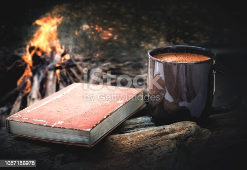 istock cup of coffee and book with campfire night background. 1057186978