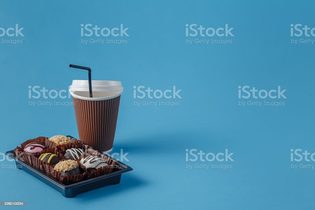 cup of coffee and chocolate cookies royalty-free stock photo