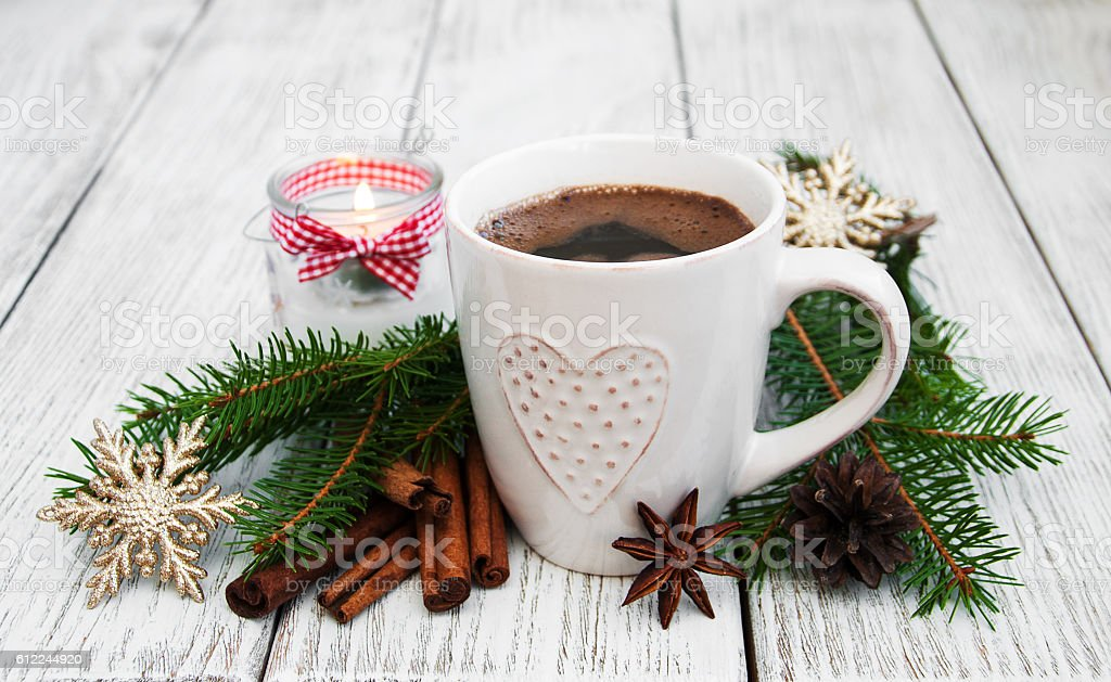 Cup of coffee and christmas decoration stock photo
