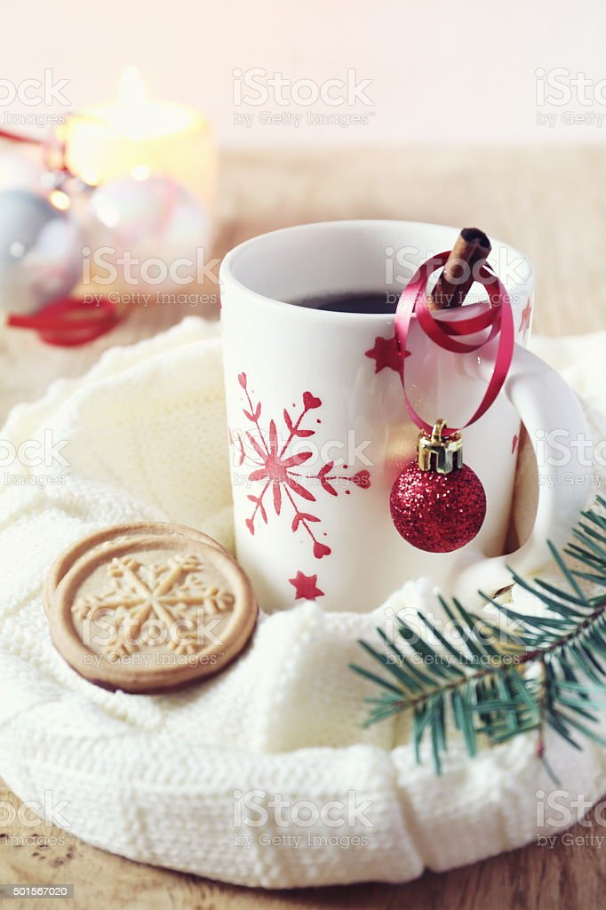 Cup of coffee and christmas sugar cookies stock photo