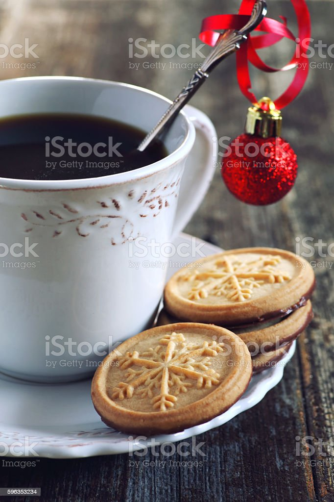 Cup of coffee and christmas sugar cookies royalty-free stock photo