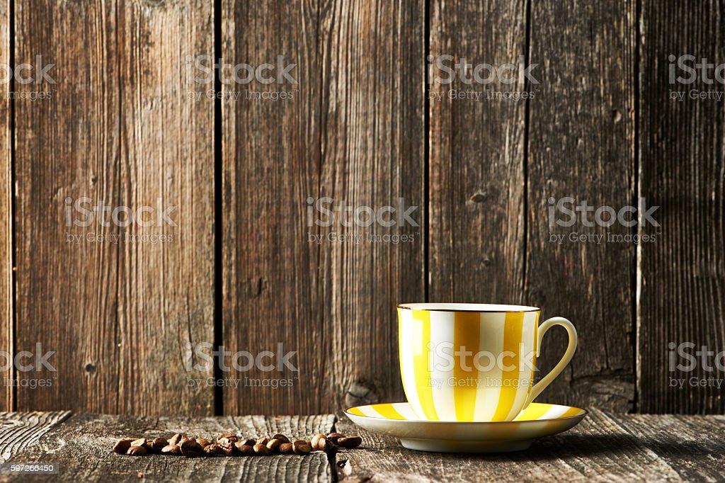 Tasse Kaffee und Kaffeebohnen  Lizenzfreies stock-foto