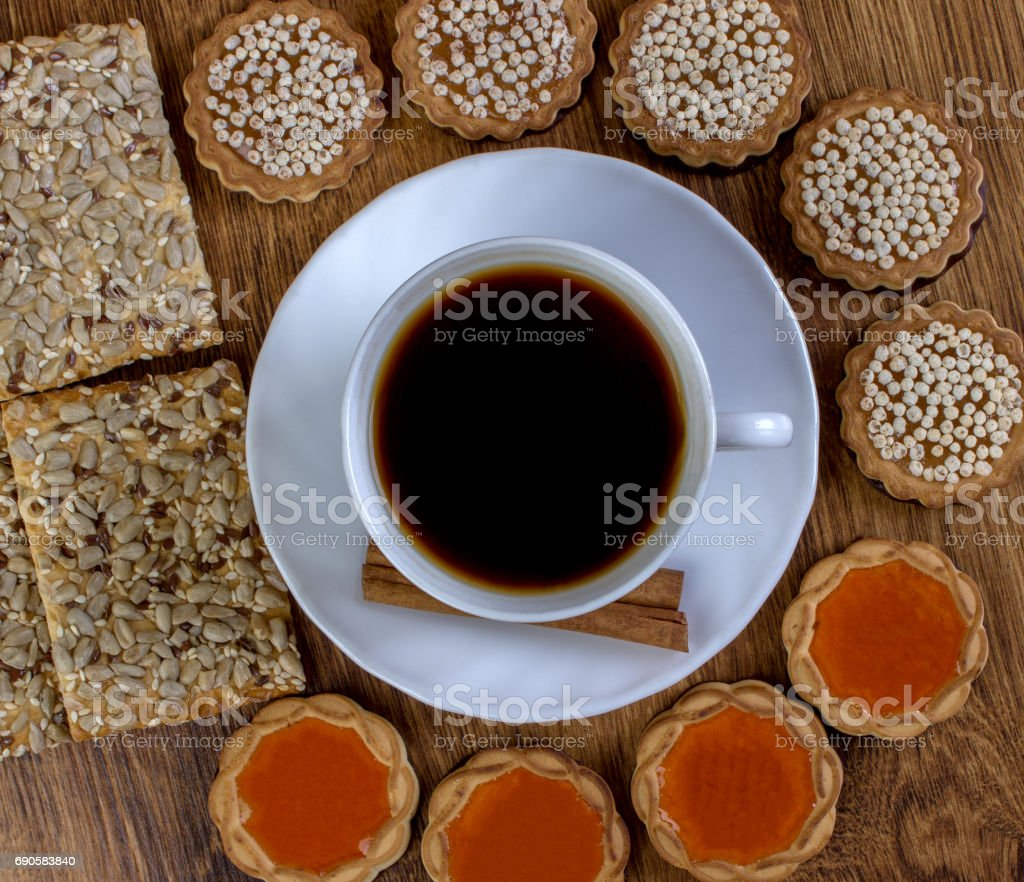 Cup of coffee and cookies stock photo