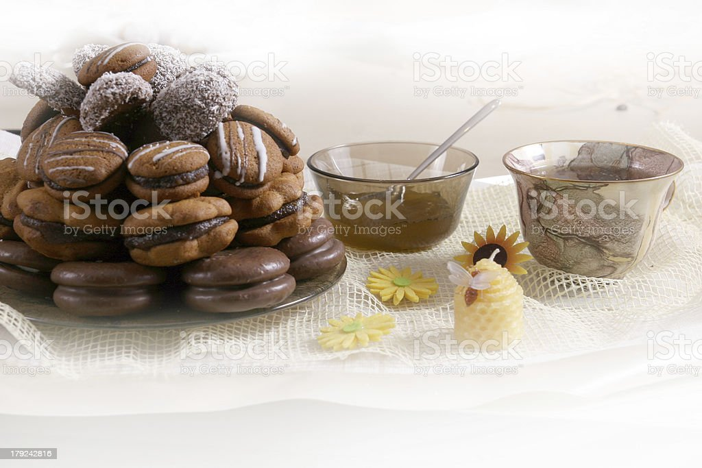 cup of coffee and cookies with chocolate royalty-free stock photo