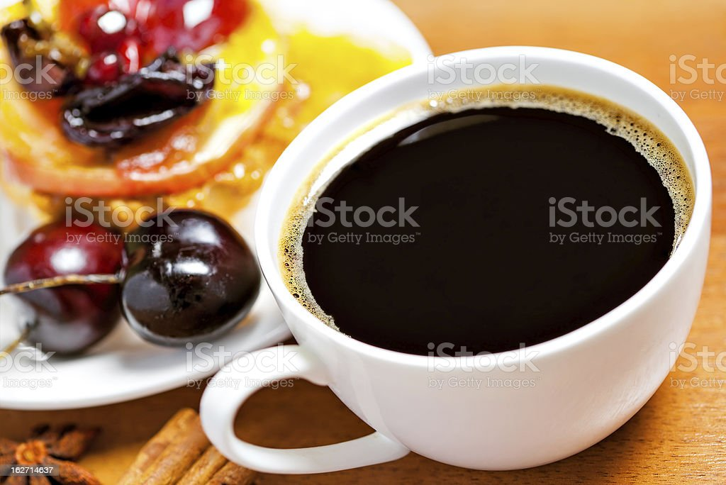 Cup of coffee and dessert royalty-free stock photo