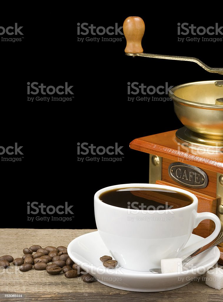 cup of coffee and grinder royalty-free stock photo