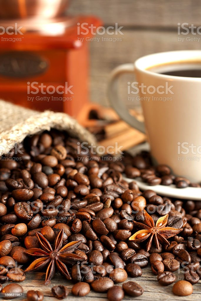 Cup of coffee and grinder vintage still life royalty-free stock photo