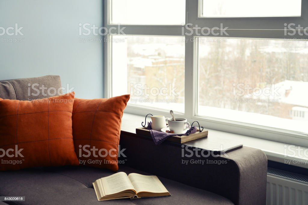 Cup of coffee and homeliness stock photo