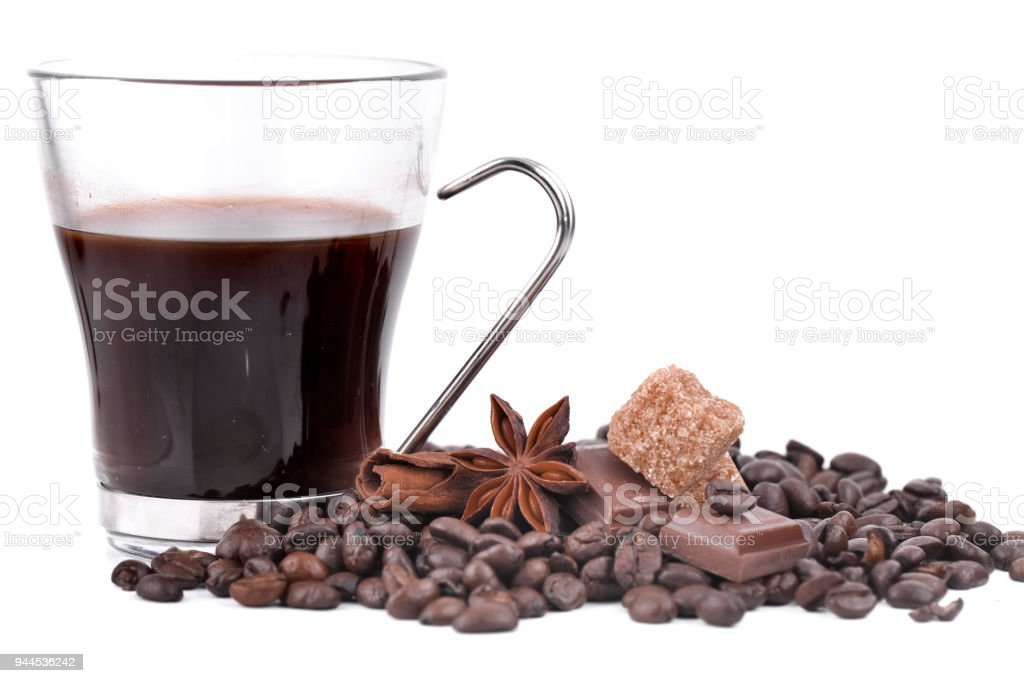cup of coffee and spice stock photo