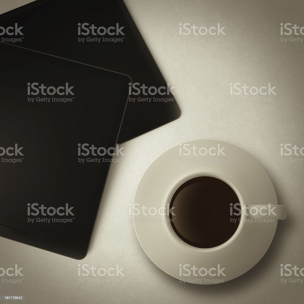 cup of coffee and tablet computer as vintage style royalty-free stock photo