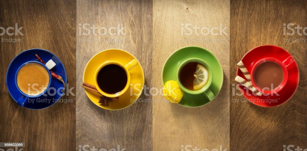 cup of coffee at wooden background stock photo