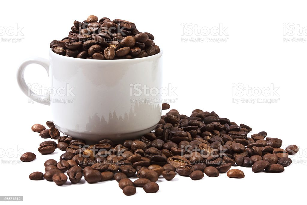cup of coffee beans isolated royalty-free stock photo