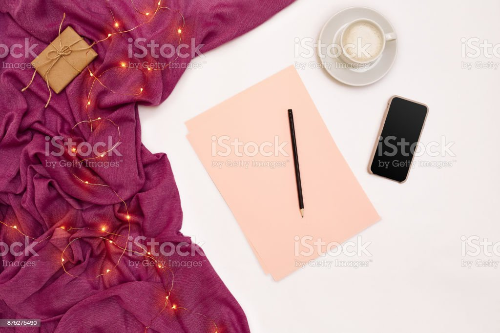 A Cup Of Coffee Black Smart Pink Paper With New Years Goals Scarf And Christmas Lights On White Background Stock Photo Download Image Now Istock