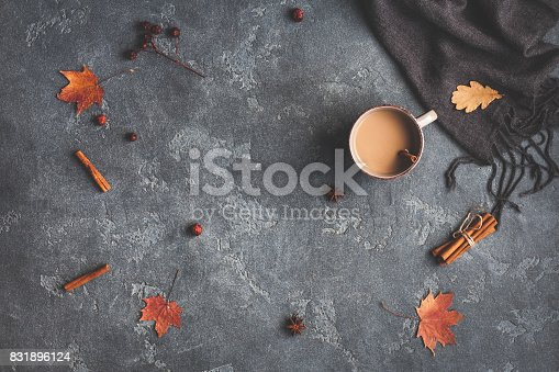 istock Cup of coffee, blanket, autumn leaves. Flat lay, top view 831896124