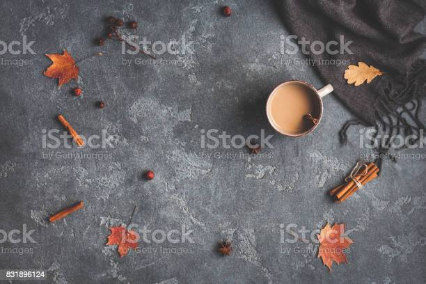 Photo of Cup of coffee, blanket, autumn leaves. Flat lay, top view