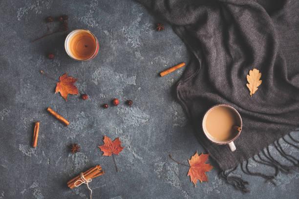 tasse kaffee, decke, blätter im herbst. flach legen, top aussicht - herbst kerzen stock-fotos und bilder