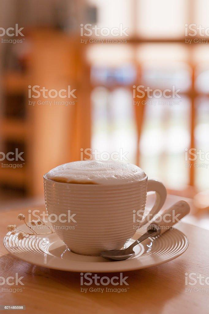 Cup of coffee cappuccino art photo libre de droits