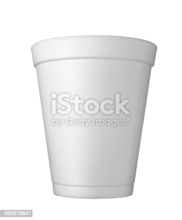 close up of styro foam coffee cup on white background with clipping path