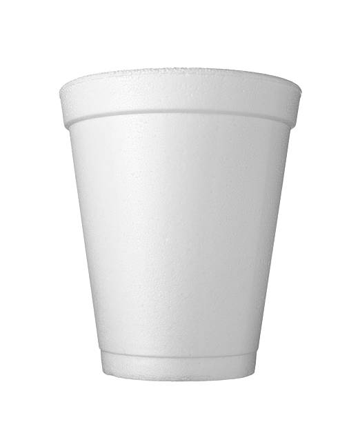 cup of coffee drink food close up of styro foam coffee cup on white background with clipping path polystyrene stock pictures, royalty-free photos & images