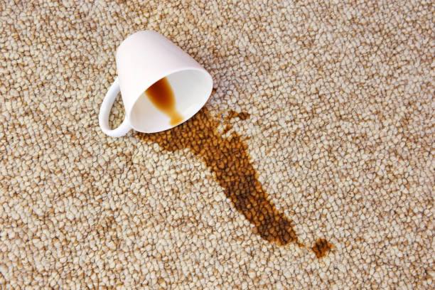 Cup of coffee fell on carpet. Stain is on floor. Cup of coffee fell on carpet. Stain is on floor. spilling stock pictures, royalty-free photos & images