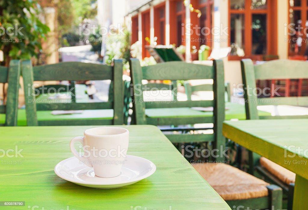Cup of coffee in a coffee shop outdoors zbiór zdjęć royalty-free