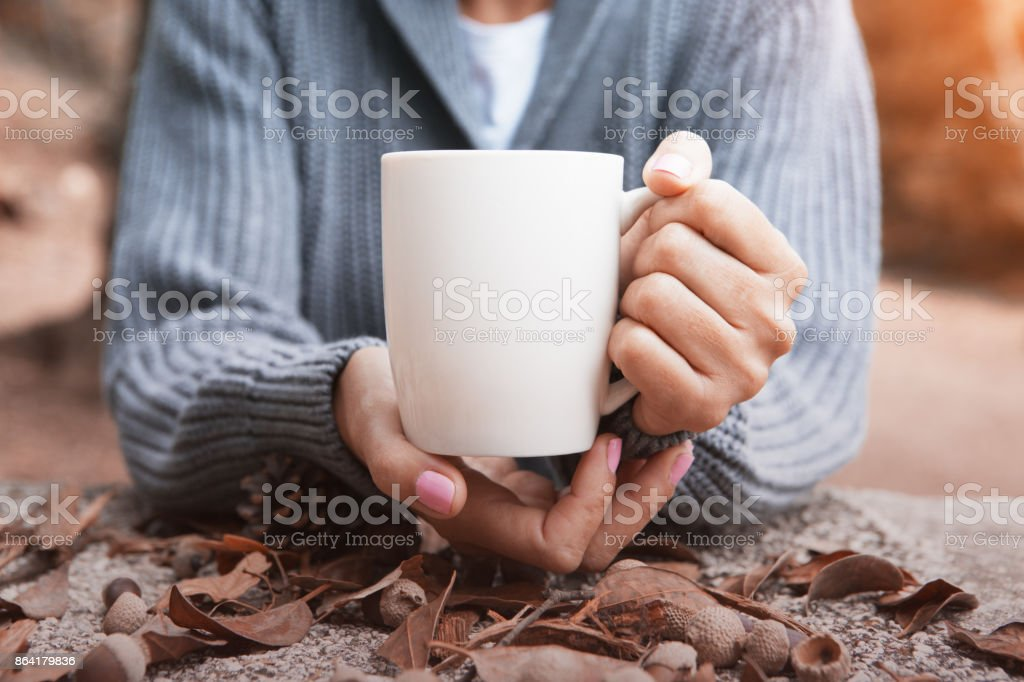 Cup of coffee in autumn royalty-free stock photo