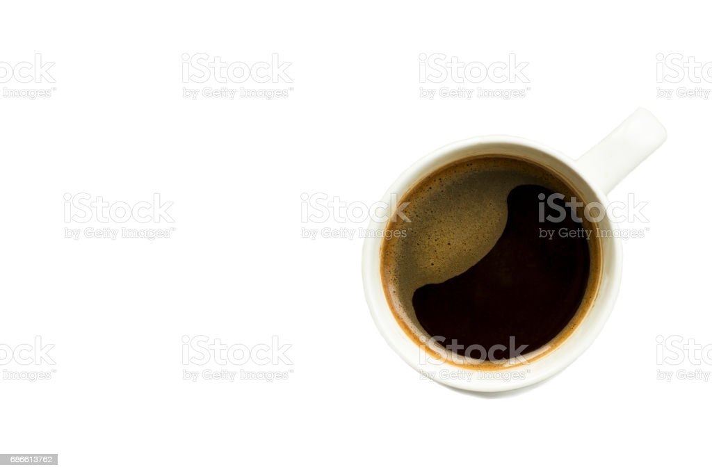 Cup of coffee isolated on white background top view, with copy space for text at left side royalty-free stock photo