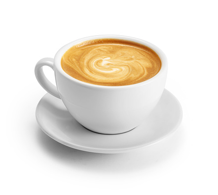 Cup of coffee latte isolated on white background with clipping path