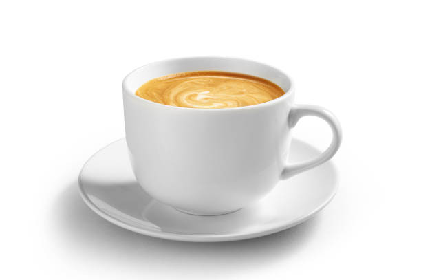 咖啡拿鐵杯與剪貼路徑隔離在白色背景上 - 杯 個照片及圖片檔