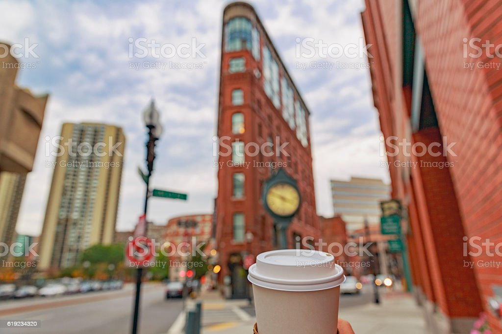 cup of coffee on a background of Boston stock photo