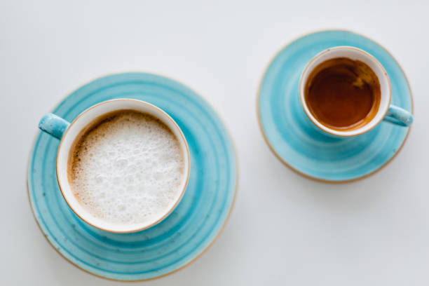 Cup of coffee on a table stock photo