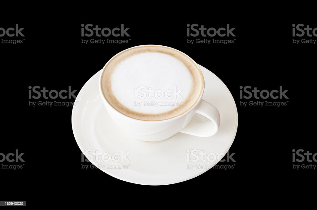 cup of coffee on black background royalty-free stock photo