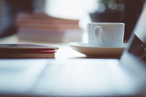 Cup Of Coffee On The Desk Stock Photo - Download Image Now