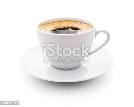 cup of coffee over white background