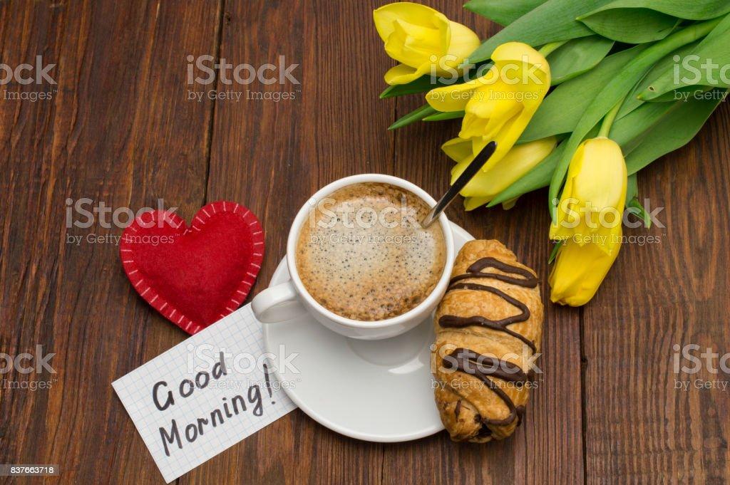 Tasse Kaffee Rotes Herz Und Guten Morgen Massage Stockfoto Und Mehr
