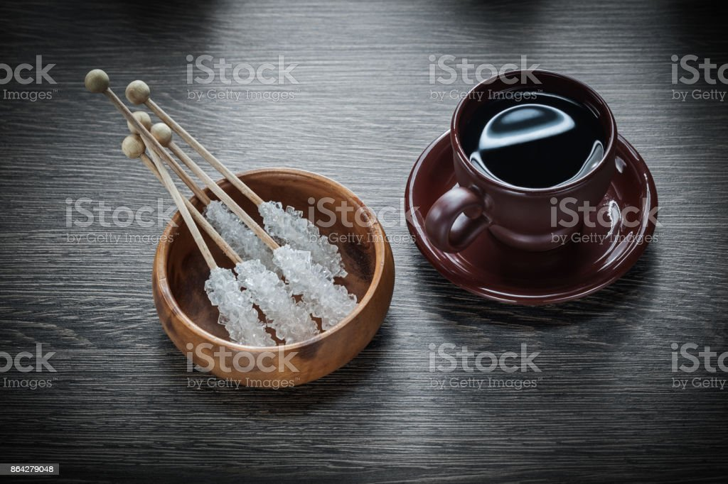 Cup of coffee saucer bowl vintage sugar on wooden board royalty-free stock photo