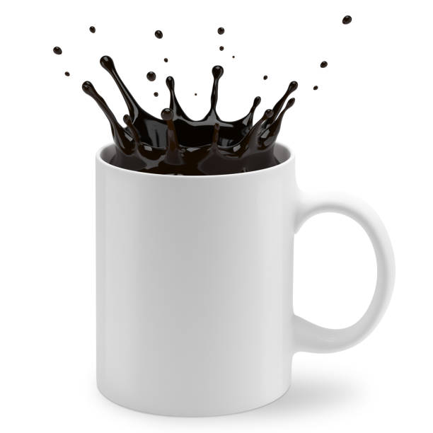 Cup of coffee splashes stock photo