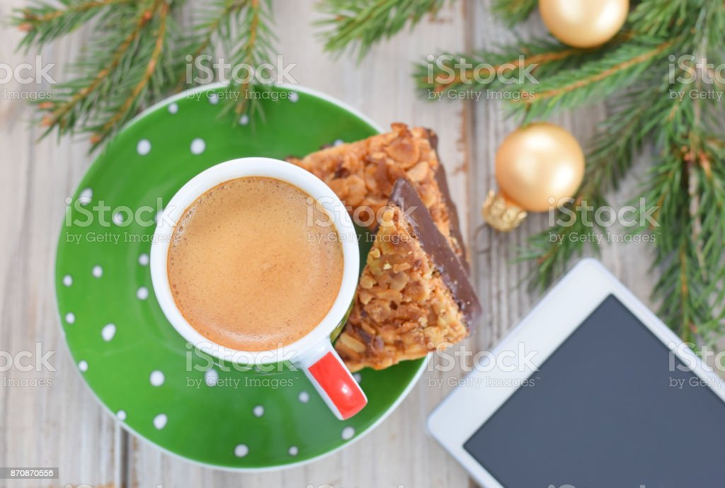Cup of coffee to christmas stock photo
