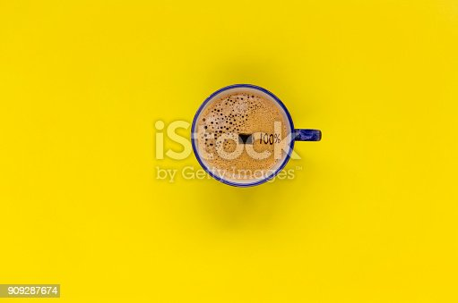 A cup of coffee on yellow background.top view