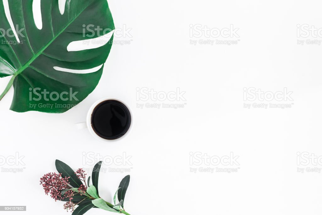 Cup of coffee, green tropical leaf and flower on white background....