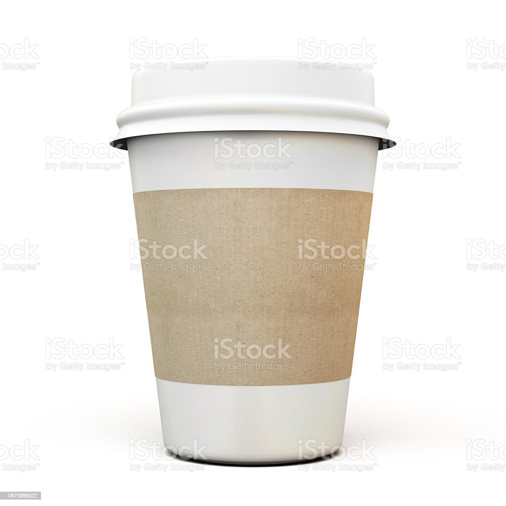 Cup of coffee with a cardboard label stock photo