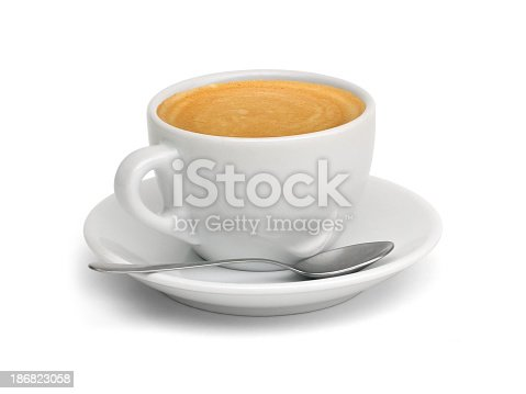 Cup of coffee and small spoon (CLIPPING PATH included). Related images in Zocha's coffees