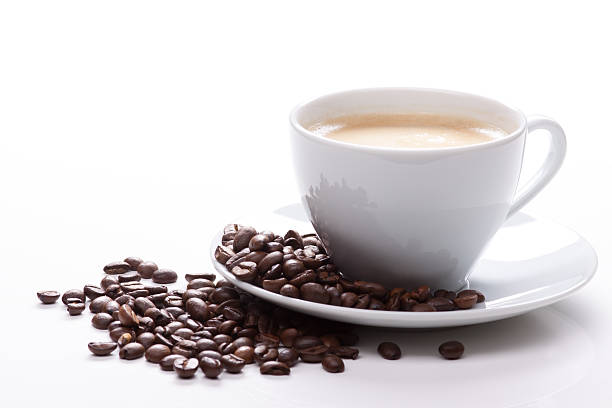 cup of coffee with beans - bean stock photos and pictures