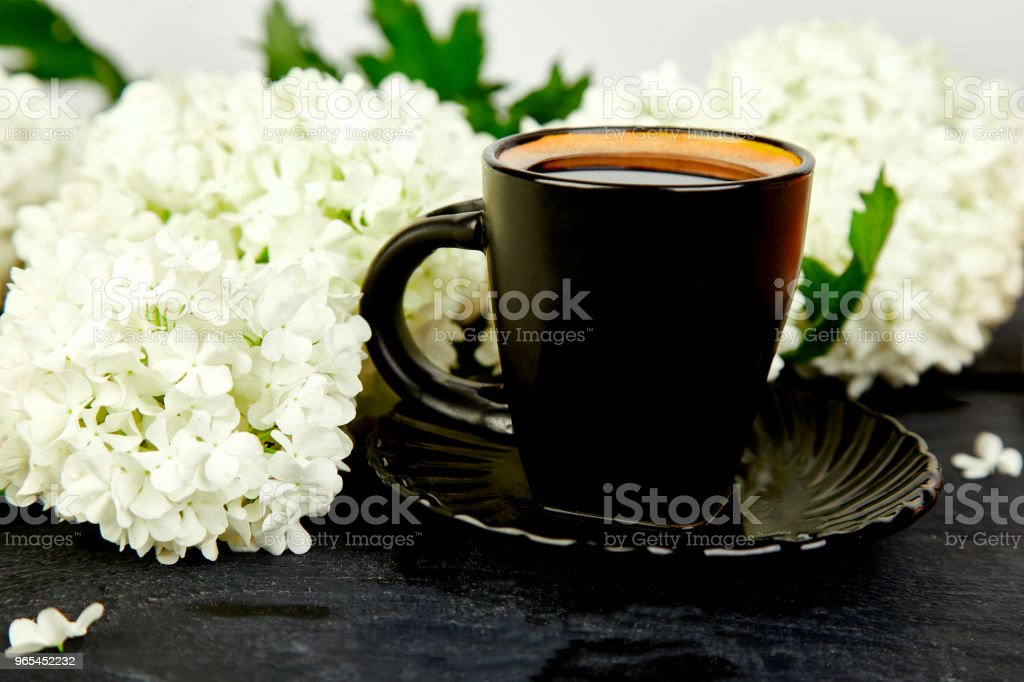 Cup of coffee with bouquet hydrangea royalty-free stock photo