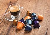 Cup of Coffee with Capsules, Nestle Nespresso Kaffeekapseln