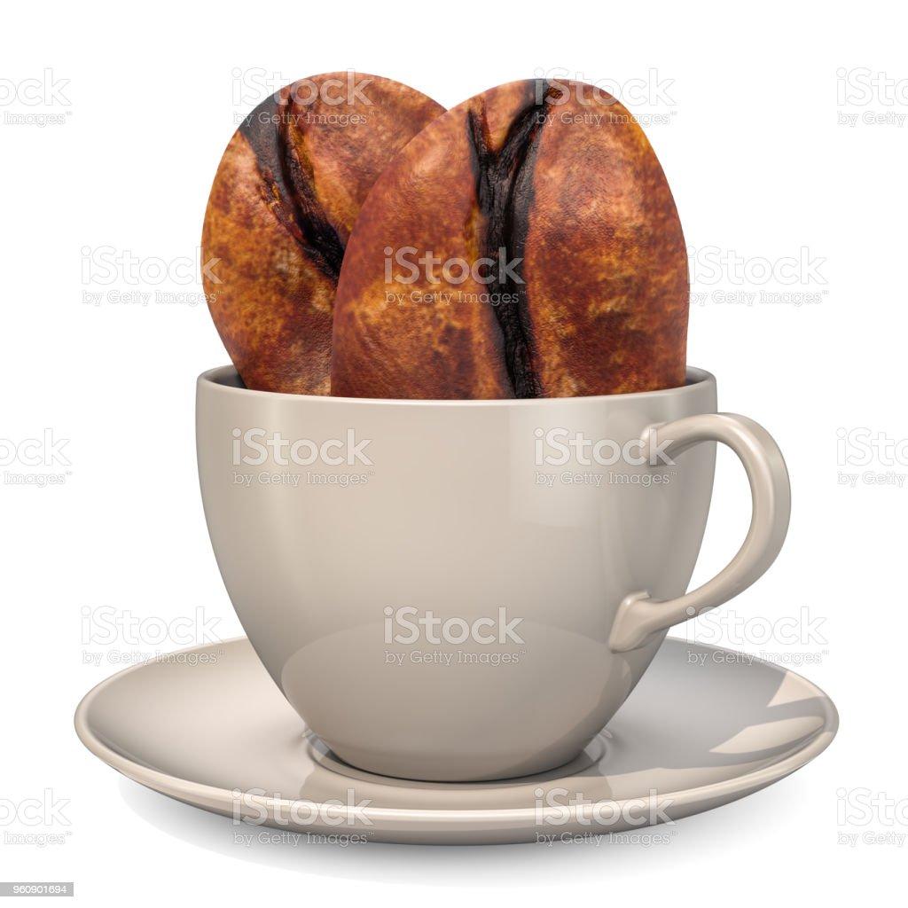Tasse Kaffee mit Kaffeebohnen in 3D-Rendering isoliert auf weißem Hintergrund - Lizenzfrei Braun Stock-Foto